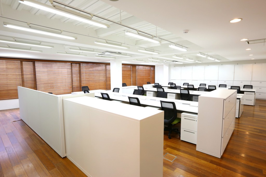 事務所1 広さと木を強調