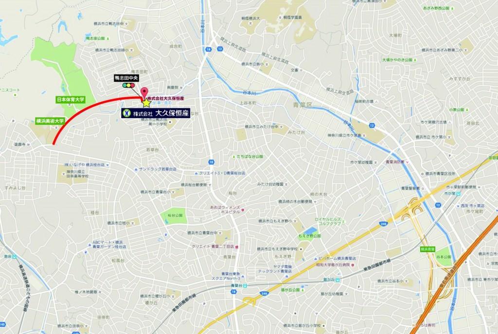 大久保恒産新社屋への道のり(車編)_日体大から-01